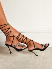 Summer Rhinestone Ladies Heel Sandal