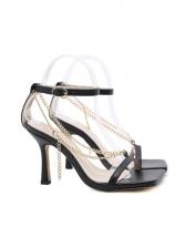 Square Neck Snake Print Heel Sandal