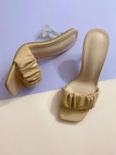 Fashion Solid Crystal Heel Ladies Slippers