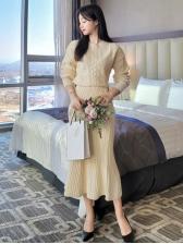 Korea Solid Sweater With High Waist Skirt