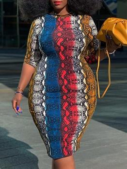 Contrast Color Snake Print Plus Size Dress