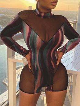 New Sexy Striped Patchwork Skinny Romper
