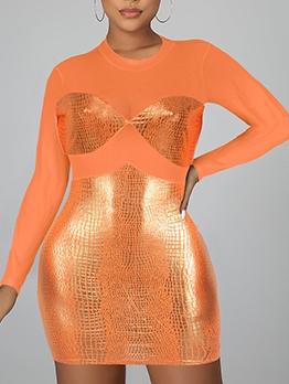 Gauze See Through Panel Long Sleeve Bodycon Dress