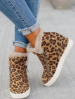 Versatile Leopard Printing Height Increasing Womens Boots