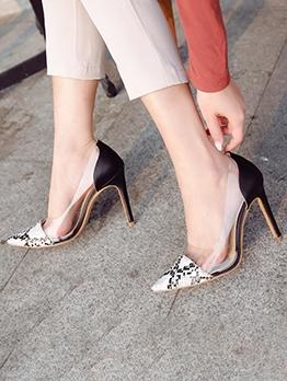 Snakeskin Printed Patchwork Heels For Women