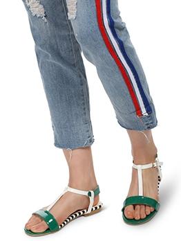 Color Block Round Toe Flat Summer Sandals