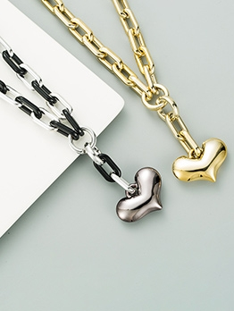 Punk Thick Chain Heart Pendant Necklace