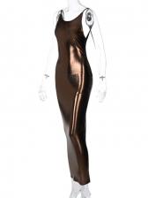 Backless Bright Color Sleeveless Maxi Dress