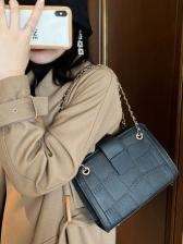 Retro Stone Grain Chain Shoulder Bag