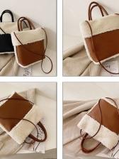 Plush Patchwork Large Capacity Shoulder Tote Bag