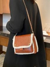Large Capacity Plush Trim Crossbody Shoulder Bag
