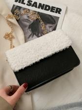 Vintage Plush Patchwork Chain Shoulder Bag For Winter