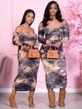 Casual Tie Dye Ladies Long Sleeve Dress