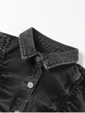 Chic Drawstring Puff Sleeve Cropped Denim Jacket