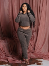 Winter Lace Up Lambswool Two Piece Pants Set