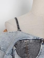 Streetwear Contrast Color Denim Crop Tops For Women