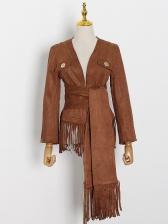Boutique V Neck Tassel Hem Long Sleeve Jacket