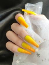 Gradient Color Yellow Long False Nail Patch