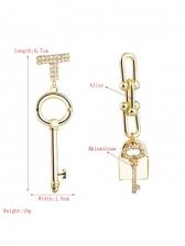 Create Lock Key Rhinestone Long Earrings