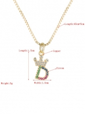 Colourful Zircon Letter Necklace Easy Matching