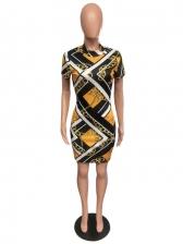 Summer Mock Neck Short Sleeve Dress