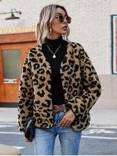 Fashion Leopard V Neck Short Coat Winter