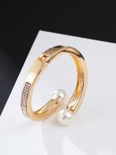 Fashion Rhinestone Faux Pearl Bracelet