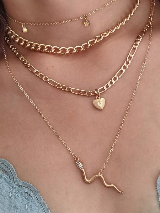 Punk Style Heart Snake Pendant Necklace