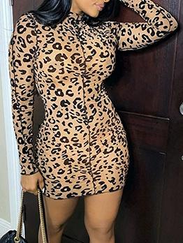 Euro Mock Neck Leopard Printed Bodycon Dress