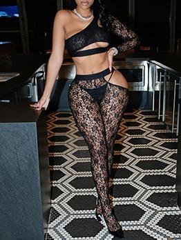 Seductive One Shoulder Lace Two Piece Pants Set