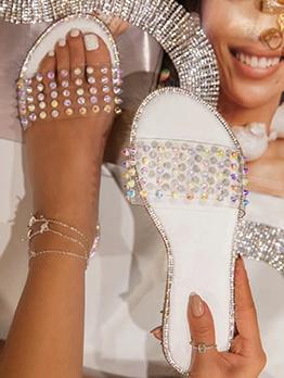 Fashion Rhinestone Decor Ladies Slippers