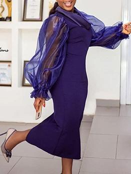 See Through Organza Patchwork Long Sleeve Maxi Dress