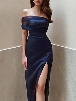 Sexy High Slit Gauze Patchwork Party Wear Dress