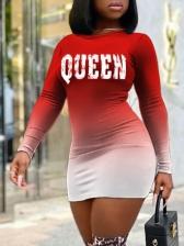 Gradient Color Letter Plus Size Bodycon Dress