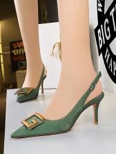 Metal Square Buckle Heels For Women
