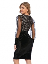Fashion Sequined Patchwork Gauze Puff Sleeve Party Dress