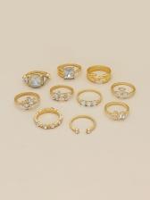 Geometry Rhinestone Latest Style Ring Sets