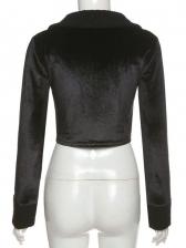 Long Sleeve Embroidery Slim Black Versatile Blouse