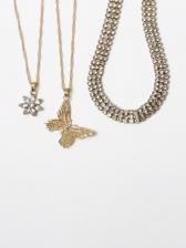 Punk Street Zircon Butterfly Pendant Necklace