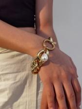 Geometry Baroque Style Faux-Pearl Bracelet
