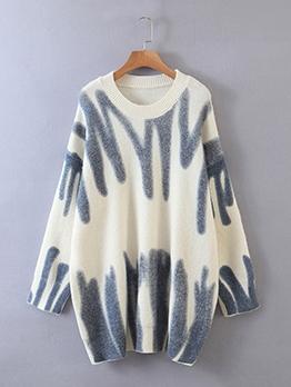 Korea Contrast Color Crew Neck Sweater