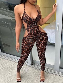 Sexy Geometric Print Skinny Backless Jumpsuit