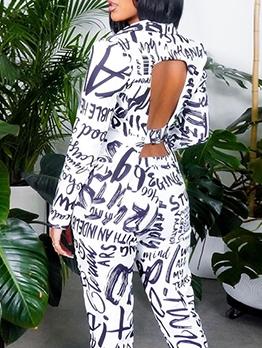 Graffiti Printed Fashion Leisure Two Pieces Pants Set