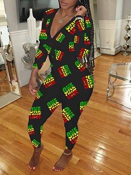 Sexy V Neck House Long Sleeve Jumpsuit