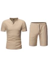Plain Short Sleeve Two Piece Mens Activewear