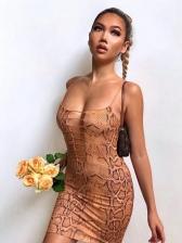 Hollow Out Snake Print Sleeveless Bodycon Dress