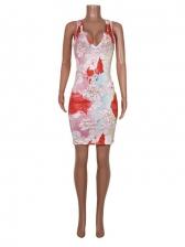 V Neck Flower Print Sleeveless Dress