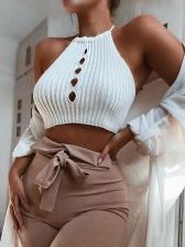 Fashion Holes Sleeveless Cropped Tank Top