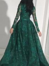 Euro Gauze Long Sleeve Embroidery Evening Wear Dresses