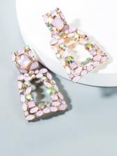 Street Snap Fashion Geometry Rhinestone Earrings